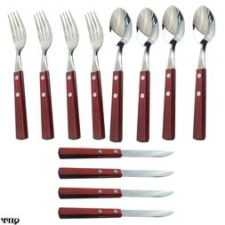 12Pcs Wooden Handle Stainless Steel Cutlery Set Forks Spoons