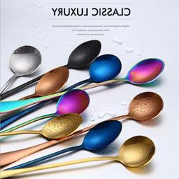 19CM Colorful Stainless Steel Long Handle Coffee Spoon Drink