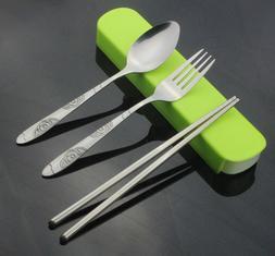 1SET Portable S/Steel Cutlery Chopstick Spoon Fork Dinnerwar