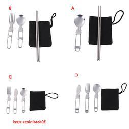 1set Portable Travel Picnic Foldable Cutlery Set Spoon Fork