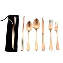 Matte Rose Gold Flatware Set Stainless Steel Portable Travel