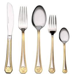 20 Piece Venezia Medusa Silverware Set 18/10 Gold - Greek Ke