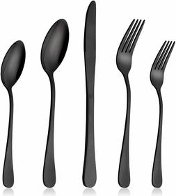 20 Piece Black Stainless Steel Silverware Flatware Set Cutle