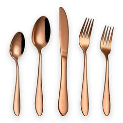 HOMQUEN 20-Piece Copper Color Flatware Set Service for 4, St