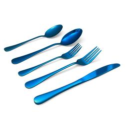 20-Piece Blue Flatware Cutlery Set Reflective Stainless Stee