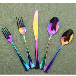 20 Silverware Set Top Stainless Steel Multi-color Spoon Fork