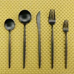 20pcs Matte Black 304 Stainless Steel Flatware Set Silverwar