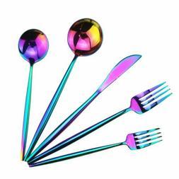 20pcs Rainbow Flatware Set Cutlery Silverware Dinner Fork Sp