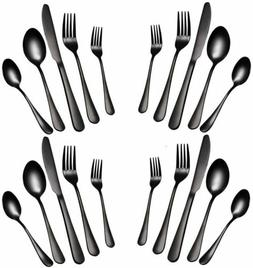 20P Black Western Flatware Set 18/10 Stainless Steel Silverw