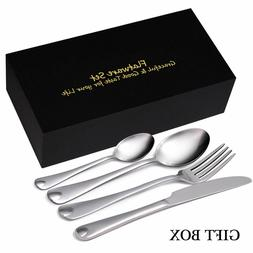 24 PCS Silverware Set Service for 6 Stainless Steel Cutlery