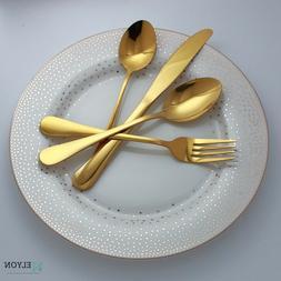 24-piece Gold Flatware, Stainless Steel Silverware Set, Refl