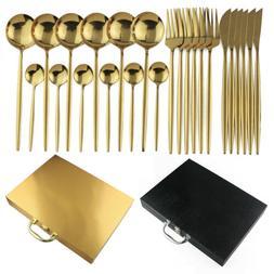 24 Piece Silverware Set Flatware Cutlery Gold Stainless Stee