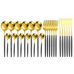24pcs Black Gold Shinny Flatware Silverware Stainless Steel