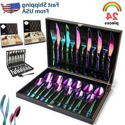 24Pcs Silverware Set Stainless Steel Flatware Kitchen Cutler
