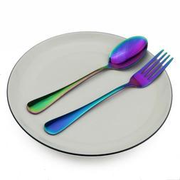 2Pcs/Set Stainless Steel Travel Dinnerware Cutlery Fork Spoo