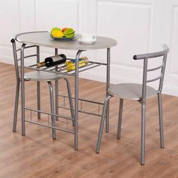 3 PCS Dining Set Table 2 Chairs Bistro Pub Home Kitchen Brea