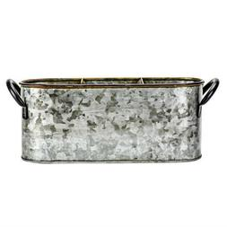 Boston Warehouse 3 Section Galvanized Metal Flatware Caddy