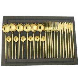 Matel Flatware Cutlery Dinner Knives Forks Spoons Gold Silve