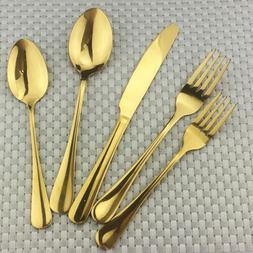 304 Stainless Steel High Grade Gold Cutlery Steak Knife Fork
