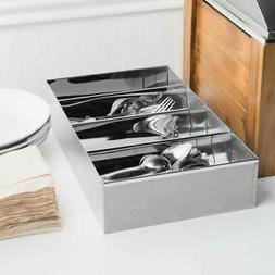 4 Compartment Stainless Steel Silverware Cutlery Holder Orga