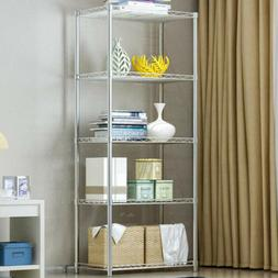 4 Tier Wire Shelving Unit Metal Rack Home Book Shelf Kitchen