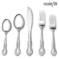 40PCS Flatware Set Tableware Dinnerware Cutlery Knife Fork S