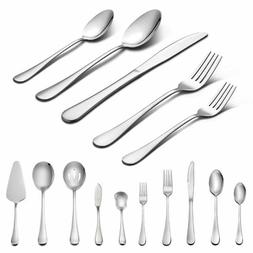 45-Piece Silverware Set with Serving Pieces Stainless Cutler