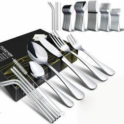 45Pcs Stainless Steel Flatware Set Silverware Kitchen Cutler