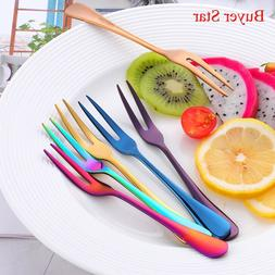 4PCS Stainless Steel Two-tine Fork Set Gold Fruit Fork Table