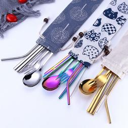 5/3PCS Portable Stainless Steel Knife Fork Spoon Chopsticks