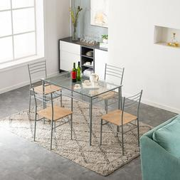 5 Piece Dining Table Set Silver Glass 4 Chairs Seats Kitchen