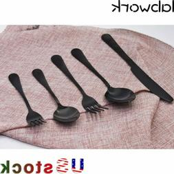 NEW Stainless Steel Dinner Knife Spoon Silverware glossy Bla