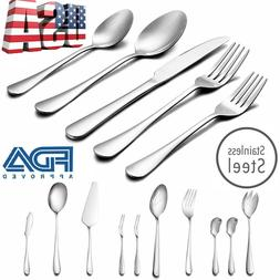 50 Pcs Stainless Steel Flatware Set Service for 8 Kitchen Cu