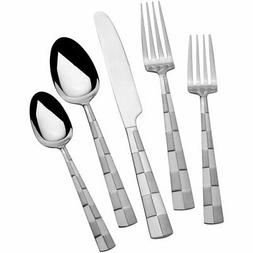 5108515 Checkered Frost Stainless Steel Flatware, 20-Piece S