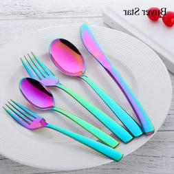 5PCS Stainless Steel Flatware Set Cutlery Upscale Fork Desse