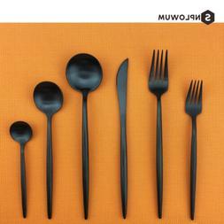 6 Piece Black Flatware Silverware Cutlery Set 304 Stainless