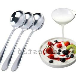 6pcs Stainless Steel Dinner Spoons Home Kitchen Restaurant D
