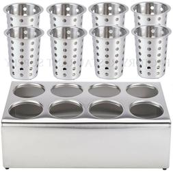 8 Hole Stainless Steel Flatware Holder with 8 CYLINDER Comme