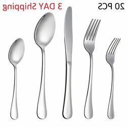Bruntmor, The Everyday Silverware 20 Piece Flatware Cutlery