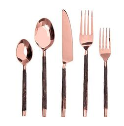 DAVID SHAW 922608 20 Piece Antiqua Flatware Set, Copper