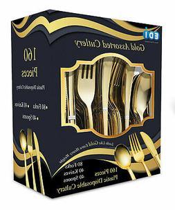 EDI160 Pieces Disposable Plastic Gold Flatware 80 Forks, 40