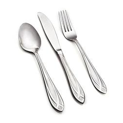 Hampton Forge, Lace Frosted, 54 Piece Flatware Set with Wood