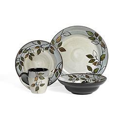 Pfaltzgraff Rustic Leaves 16-Piece Stoneware Dinnerware Set,