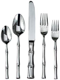 Ricci Bamboo 5-Piece Stainless-Steel Flatware Place Setting,