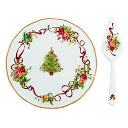Royal Albert Old Country Roses Christmas Tree Low Cake Plate