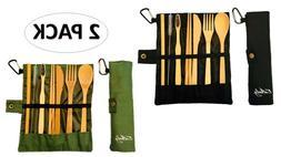 Bamboo Cutlery Flatware Tableware Set Portable Reusable 2-Pa