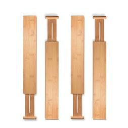 Bamboo Drawer Divider Spring Adjustable for Kitchen Dresser