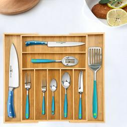 Bamboo Flatware Cutlery Utensil Tray Expandable Drawer Kitch