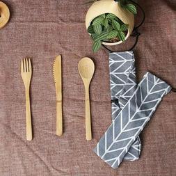 Bamboo Wooden Flatware Cutlery Set Fork Knife Spoon Travel K