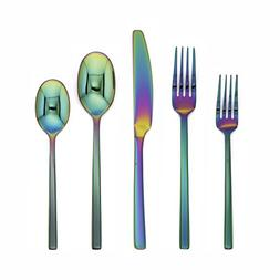 Cambridge Silversmiths 20 Piece Beacon Flatware Set, Rainbow